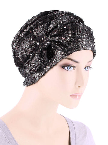 H121-SILVERPLAID#Ribbed Cloche Bow Hat Black Silver Plaid