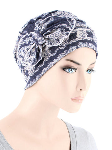 H121-BLUEMEDALLION#Ribbed Cloche Bow Hat Blue White Medallion