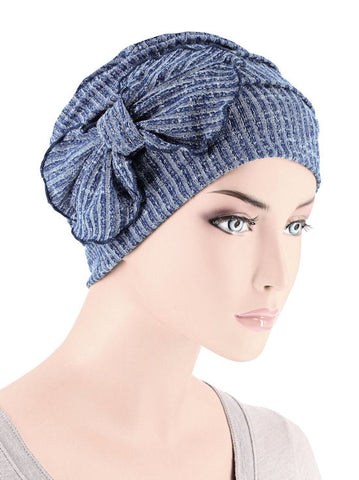 H121-BLUERIBBED#Ribbed Cloche Bow Hat Blue Ribbed