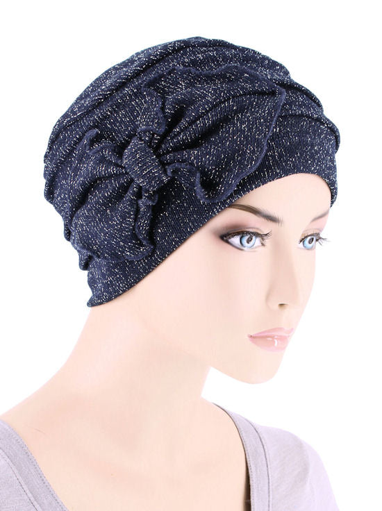 H121-NAVYSHIMMER#Ribbed Cloche Bow Hat Navy Blue w/ Silver