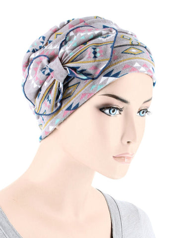 H121-PINKNAVAJO#Ribbed Cloche Bow Hat Pink Gray Navajo