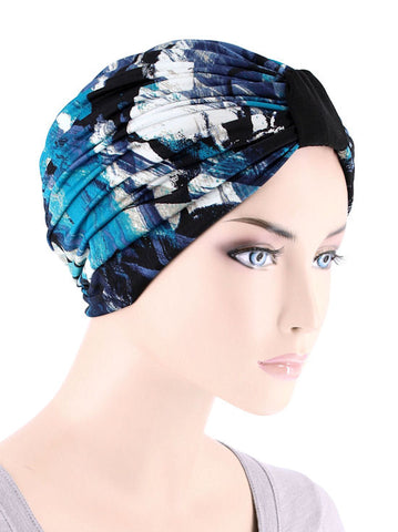 DKT-213#Elegant Print Turban in Ocean Blue Abstract
