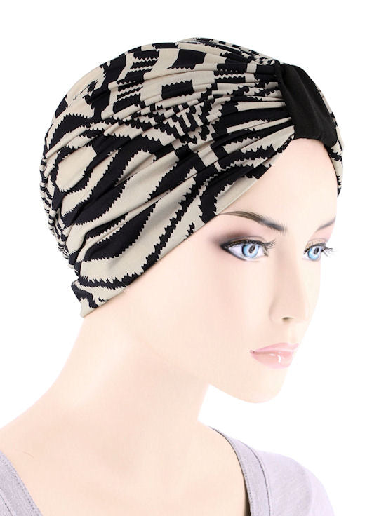 DKT-215#Elegant Print Turban in Taupe Palm Sunrise