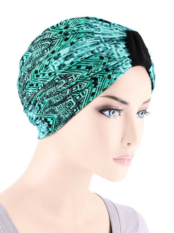 DKT-220#Elegant Print Turban in Green Aztec Forest