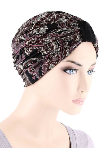 DKT-221#Elegant Print Turban in Brown Vintage Paisley
