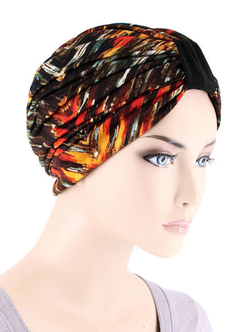 DKT-224#Elegant Print Turban in Red Amber