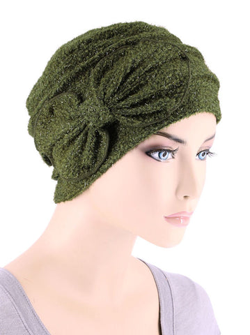 H121-OLIVE#Eyelash Ribbed Cloche Bow Hat Olive Green