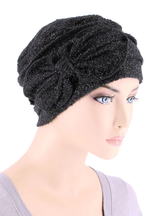H121-BLACK#Eyelash Ribbed Cloche Bow Hat Onyx Black
