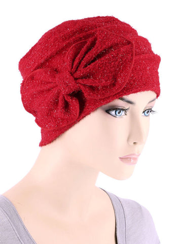 H121-RED#Eyelash Ribbed Cloche Bow Hat Ruby Red