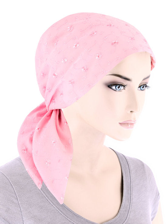 ES-LTPINK#Eyelet Cotton Scarf Light Pink