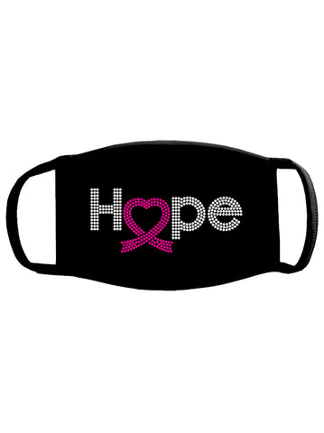 FACEMASK-PR2#Pink Ribbon Hope Heart Face Mask