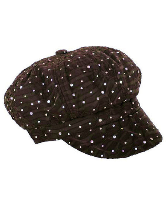 GNB-BROWN#Glitter Sequin Newsboy Hat Brown
