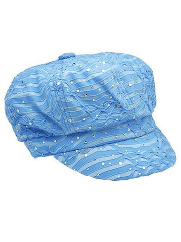 GNB-LTBLUE#Glitter Sequin Newsboy Hat Light Blue