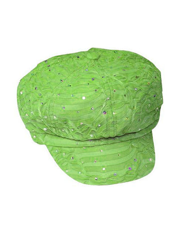 GNB-LIME#Glitter Sequin Newsboy Hat Lime