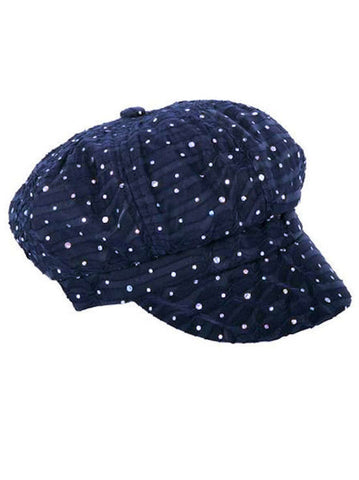 GNB-NAVY#Glitter Sequin Newsboy Hat Navy Blue