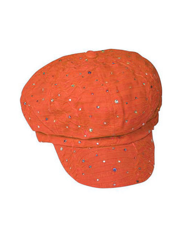 GNB-ORANGE#Glitter Sequin Newsboy Hat Orange