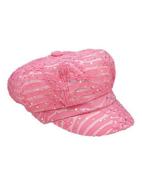 GNB-LTPINK#Glitter Sequin Newsboy Hat Light Pink