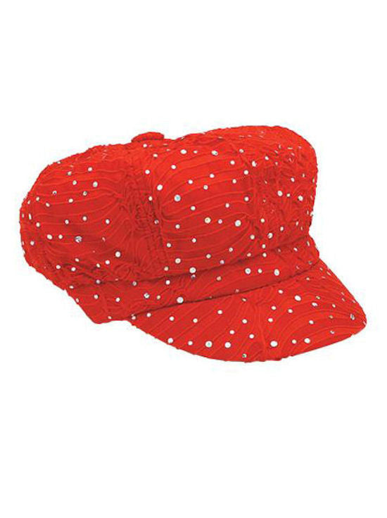 GNB-RED#Glitter Sequin Newsboy Hat Red