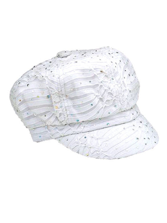GNB-WHITE#Glitter Sequin Newsboy Hat White