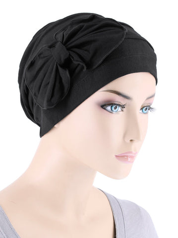 H121BB-BLACK#Bamboo Pleated Bow Cap Onyx Black
