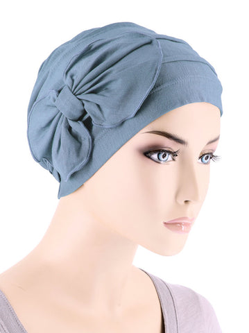H121BB-DUSTYBLUE#Bamboo Cloche Bow Hat in Dusty Blue