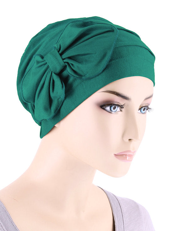 H121BB-GREEN#Bamboo Pleated Bow Cap Emerald Green