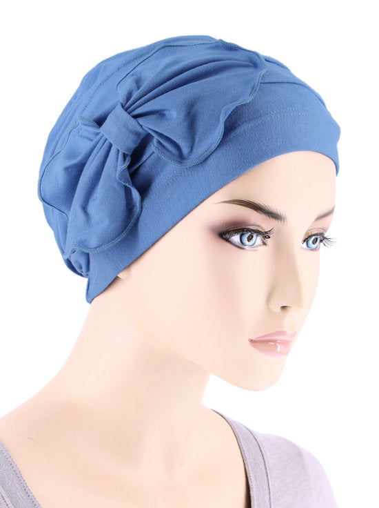 H121BB-PERIWINKLE#Bamboo Pleated Bow Cap Periwinkle Blue