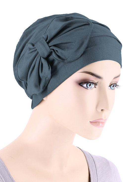 H121BB-SLATE#Bamboo Pleated Bow Cap Slate Gray