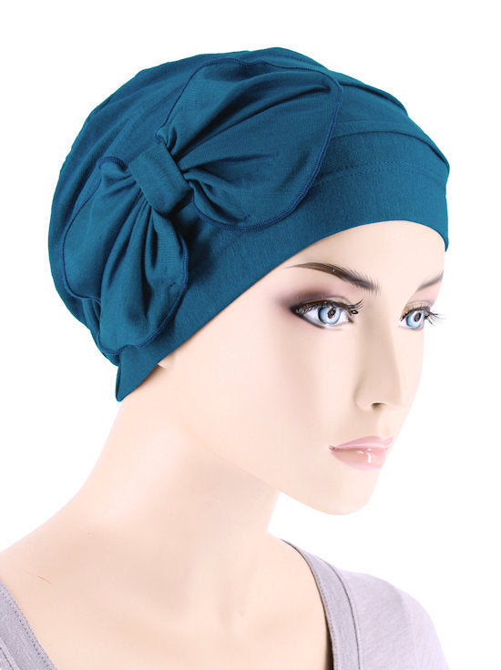 H121BB-TEAL#Bamboo Pleated Bow Cap Teal Blue