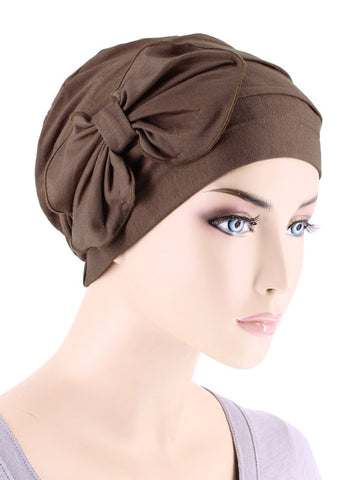H121BB-BROWN#Bamboo Pleated Bow Cap Cedar Brown