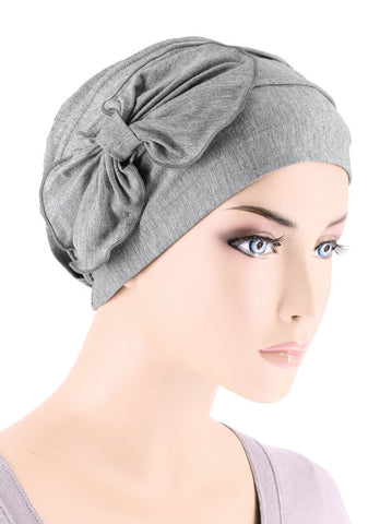 H121BB-HEATHERGRAY#Bamboo Cloche Bow Hat in Heather Gray