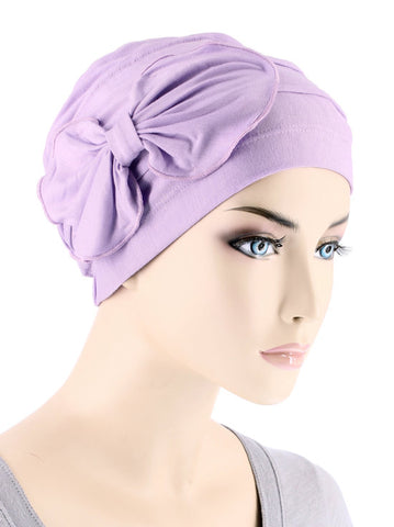 H121BB-LILAC#Bamboo Cloche Bow Hat in Lilac Orchid