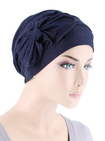 H121BB-NAVY#Bamboo Pleated Bow Cap Navy Blue
