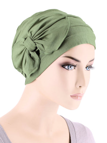 H121BB-SAGEGREEN#Bamboo Cloche Bow Hat in Sage Green