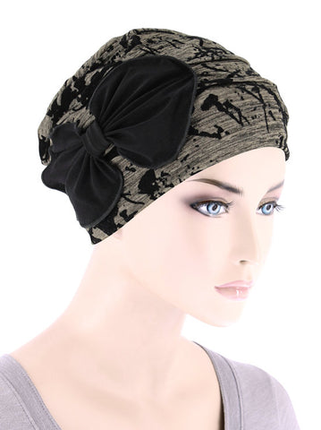 H121-BRONZEBLACK#Ribbed Cloche Bow Hat Bronze Black