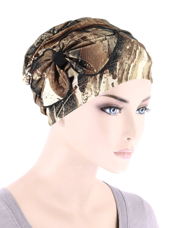 H121-BROWNGOLD#Ribbed Cloche Bow Hat Marble Brown Shimmer
