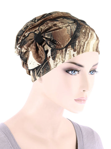 H121-BROWNGOLD#Pleated Bow Cap Marble Brown Shimmer