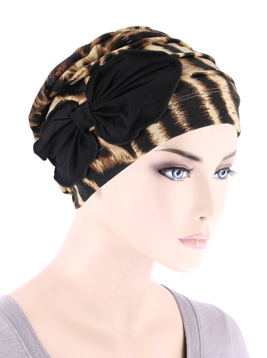 H121-LEOPARDBROWN#Pleated Bow Cap Leopard Brown