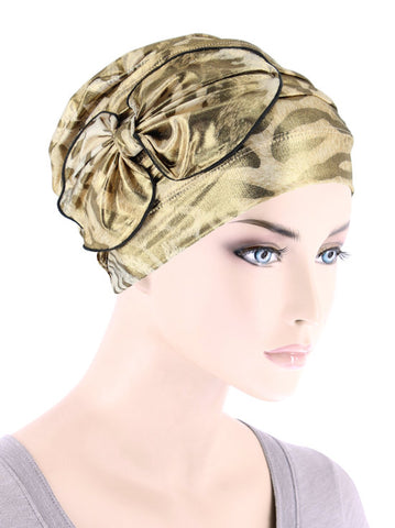 H121-LEOPARDGOLD#Ribbed Cloche Bow Hat Leopard Gold Shimmer