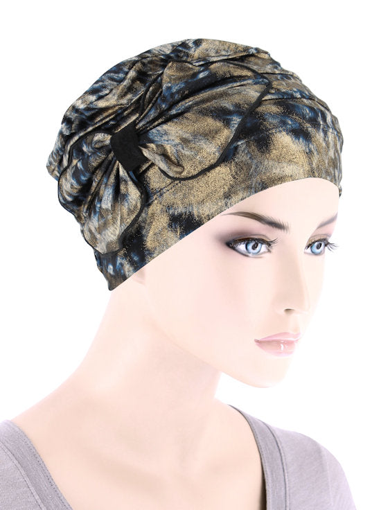 H121-NAVYGOLD#Pleated Bow Cap Leopard Navy Gold