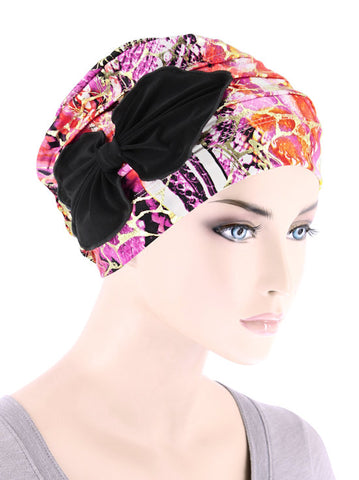 H121-MIAMIPINK#Ribbed Cloche Bow Hat Miami Animal Pink