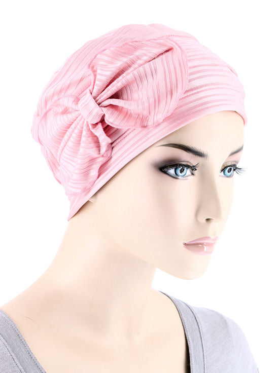 H121-RIBBEDBABYPINK#Ribbed Cloche Bow Hat Ribbed Baby Pink