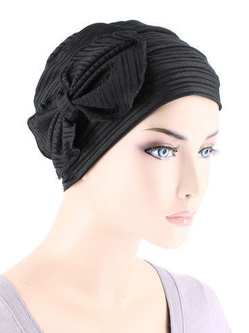 H121-RIBBEDBLACK#Pleated Bow Cap Ribbed Black
