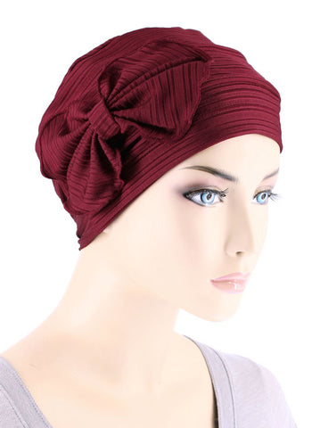 H121-RIBBEDBURGUNDY#Pleated Bow Cap Ribbed Burgundy