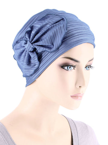 H121-RIBBEDPERIWINKLE#Pleated Bow Cap Ribbed Periwinkle Blue