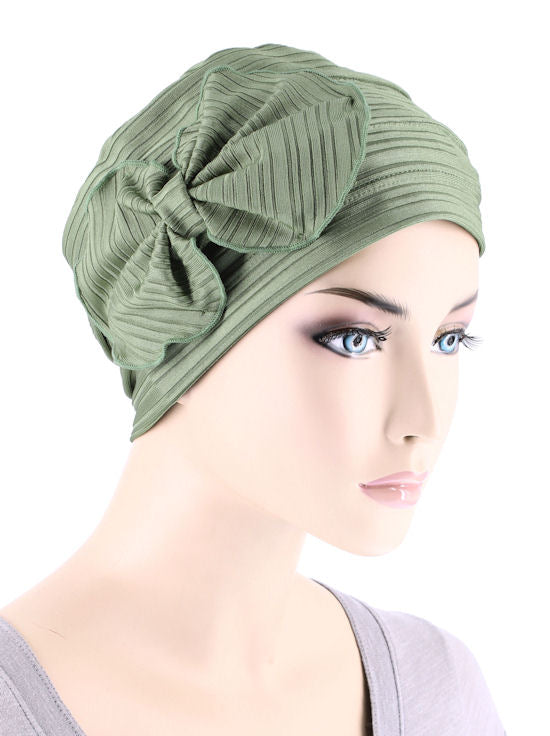 H121-RIBBEDSAGEGREEN#Pleated Bow Cap Ribbed Sage Green