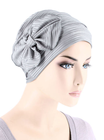 H121-RIBBEDSILVERGRAY#Pleated Bow Cap Ribbed Silver Gray