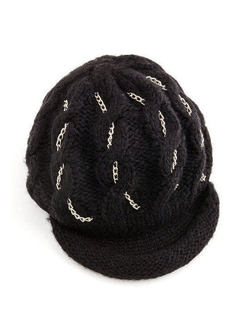 H130-BLACK#Black Chunky Braided Knit w/Gold Chain Brimmed Beanie