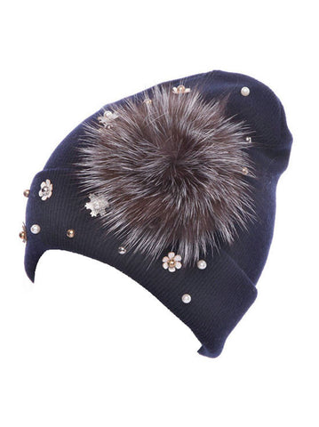 H138-NAVY#Navy Fur Flower Snowflake Glitz Roll Up Beanie