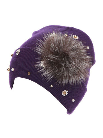 H138-PURPLE#Purple Fur Flower Snowflake Glitz Roll Up Beanie